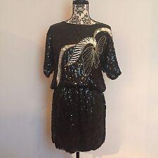 Abito vestito da donna in paillettes nere vintage anni '80 americano