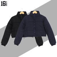 Womens Ladies Winter Warm Thick Puffer Padded Quilted Cropped Short Jacket Coat