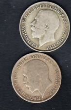 2 UK SILVER COINS, FLORIN  1922 1920 YEAR , 22g