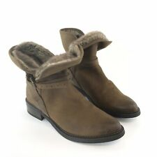 Office 39 /  UK6 Brown Leather Ankle Strap Buckle Block Heeled Soft Insole Boots