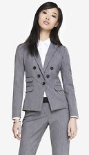 NEW EXPRESS $208 GRAY TEXTURED JACKET BARELY BOOT EDITOR PANT 2PC SUIT SZ 8/10