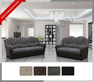 Texas - Chenille Fabric & Faux Leather - 3 + 2 Sofa Set Suite - 4 Colours