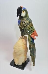 """Stunning 10"""" Hand carved semi precious multi colored Stones Parrot stone stand"""