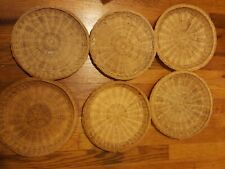 Lot of 6 Rattan Bamboo Wicker Woven Straw Paper Plate Holders Picnic Bbq Party
