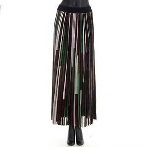 CELINE 2990$ Multi Color Pleated Maxi Skirt In Mulberry Silk Blend