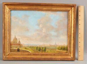 Antique Signed Austrian Landscape Oil Painting, View of Vienna Skyline Cityscape
