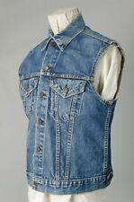 Vtg Levi'S Big E Denim Cut Sleeves Vest Jacket Flowers Embroidered