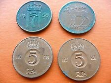 (4) 5 Ore – Bronze Norway 1956 & 1964 Moose + Sweden 1969 & 1970 King Gustaf VI