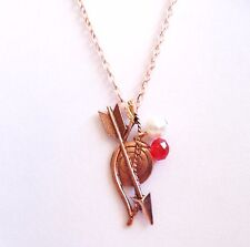 New Hunger Games Bow & Arrow Pearl Bead Copper Rose Gold Tone Chain Necklace