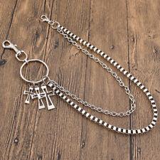 Gothic Rock Cross Pendant Key Wallet Hip Hop Jean Trousers Chain Men's Jewelry