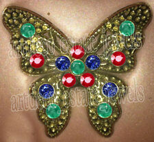 Sapphire Victorian Look Silver Brooch 2.12ct Rose Cut Diamond Ruby Emerald