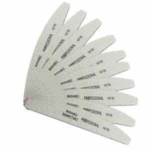 50Pcs 100/180 Nail Art Sanding Sandpaper File Curved Professional Manicure Tools