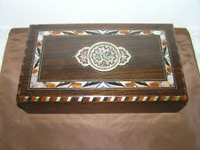 ANTIQUE BOX MADE OF ROSE-WOOD INLAID WITH MOTHER-OF-PEARL.