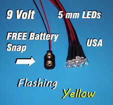 10 FLASHING LEDS 5mm PRE WIRED 9 VOLT ~ YELLOW FLASH ~ 9V BLINK PREWIRED