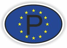OVAL EUROPEAN UNION FLAG con P codice paese Adesivo Portogallo Motocycle auto