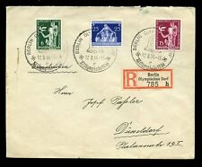 GERMANY 1936 OLYMPICS REGISTERED ETIQUETTE + SPECIAL CANCELS