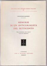 C. Grimaldi Memorie di un anticurialista del settecento  Olschki 1964  L5919