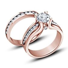 1.30 Ct Diamond Engagement Ring Wedding Band Bridal Set 14k Rose Gold Finish