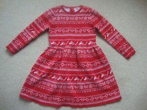 M&S girl's Christmas dress age 5-6 - knitted, fairisle