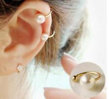 Bague d'oreille argentée perle