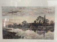 Henley on Thames, artist: Alex Anstead, Vintage Color Etching: Alex Anstead