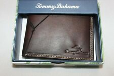 Tommy Bahama Men's Brown Genuine Leather Passcase Bifold Wallet $68 NIB