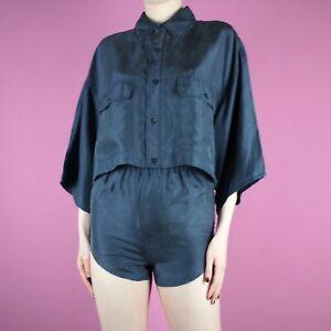 VINTAGE Rework Blue Womens Crop Two Twin Piece Set Shirt Top Blouse Shorts XS 6