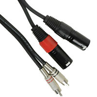 1.5m Twin Dual XLR 3 Pin Plug Plugs to 2 x RCA Phono Cable Lead