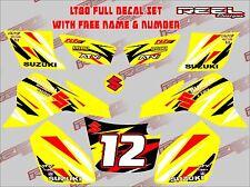 suzuki lt80 quad graphics stickers decals free name & number lt 80 atv y/black