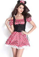 Minnie Mouse Red White Polka Dot Corset Dress Halloween Costume Medium 8829