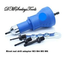 Rivet Nut threaded insert nut Drill adapter Tool Metric M3,M4,M5, & M6 FREE S.H.