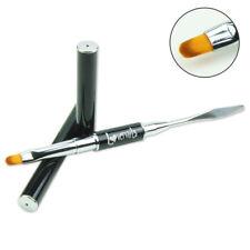 Pinsel Oval mit Spatel für Poly Acrylgel Polysystem Gelpinsel + Kappen Nailart