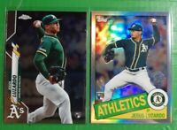 (2) 2020 Topps Chrome Jesus Luzardo RC LOT! 1985 Refractor & Base #5 Athletics