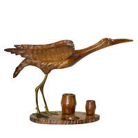 Vintage Chinese Carved Teak Crane Bird Statue w/ Brass Legs
