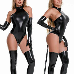 Women Halter PVC Leather Catsuit Wetlook Stockings Gloves Teddy Leotard Bodysuit