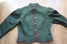 HELLER TRACHT Women's sz 42 SCHURWOLLE WOOL made in Austria Blazer JACKET Green