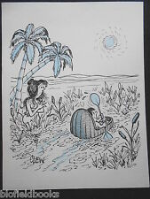 "CLIFFORD C LEWIS ""CLEW"" Original Pen & Ink Cartoon - Moses in the River #109"