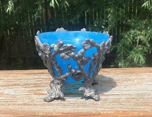 French Blue Opaline Art Glass Open Salt in Silverplate Holder with Acorns