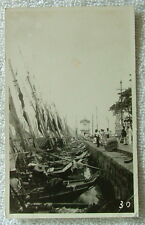 RPPC POSTCARD FISHING BOATS AND PEOPLE LINED UP ON THE DOCK BRAZIL #f5s