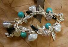 Charm Bracelet Pearl, Agate and Turquoise Gemstones Sterling Silver New 21cm