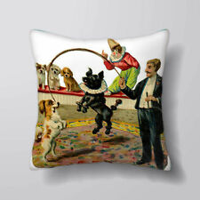 Vintage Dog Circus Printed Cushion Covers Pillow Cases Home Decor or Inner