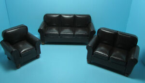 Dollhouse Miniature Brown Leather Living Room Set  Couch Love Seat Chair  T2009