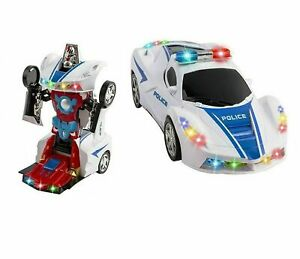 Police Cop Car Transformer 2 in 1 Robot toy for 3 4 5 6 7 8 9 year old boy kids