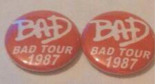 2 MICHAEL JACKSON BAD TOUR 1987 BADGES MINT CONDITION
