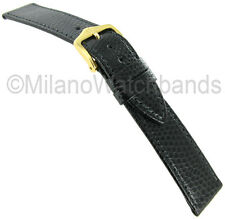 17mm Hirsch Rainbow Black Genuine Leather Lizard Grain Stitched Watch Band Long