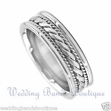 18K WHITE GOLD BRAIDED MENS WEDDING BAND INTERLACED  MEN TWIST ROPE RING  7mm