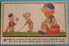 VERA PATTERSON COMIC Postcard 1934 GOLF COMIC-BEFORE HE STARTED PLAYIN' GOLF