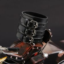 3 Layer Leather Bracelet Punk Wide Cuff Bracelet Wrist Strap Wristband Bangle SU