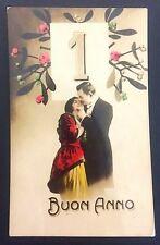 Early Italian Photo New Year Postcard Buon Anno Man Woman Romantic