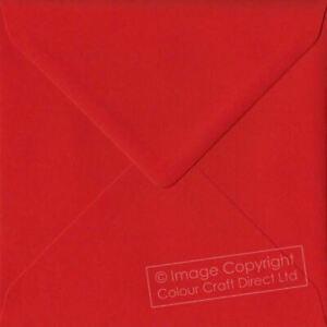 Poppy Red S4 - 155 mm x 155 mm 100gsm Gummed Square Colour Envelopes